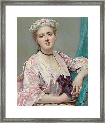 Beauty In Pink Framed Print by Raimundo de Madrazo y Garetta