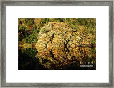 Beaver's Bend Rock Wall Reflection Framed Print by Tamyra Ayles