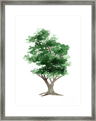 Beech Tree Silhouette Watercolor Art Print Painting Framed Print by Joanna Szmerdt