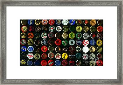 Beer Bottle Caps . 9 To 16 Proportion Framed Print by Wingsdomain Art and Photography