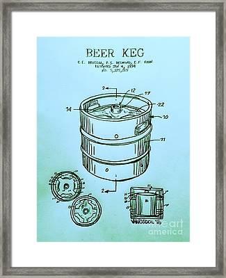 Beer Keg 1994 Patent - Blue Framed Print by Scott D Van Osdol