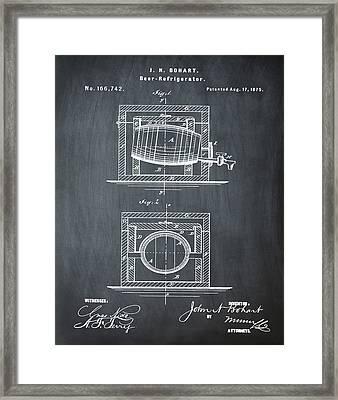 Beer Keg Refridgerator 1875 In Chalk Framed Print by Bill Cannon