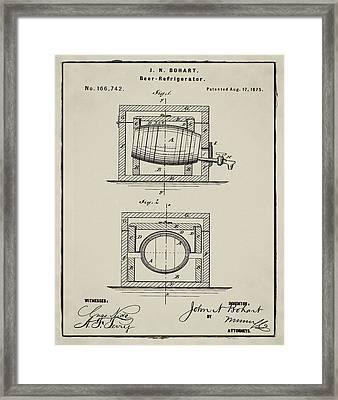 Beer Keg Refridgerator 1875 In Tan Framed Print by Bill Cannon