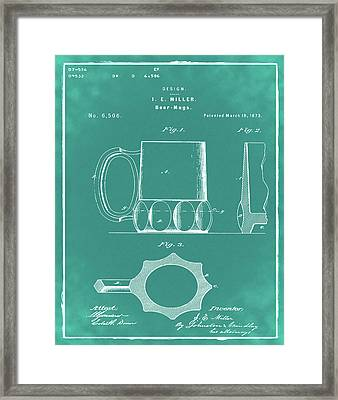 Beer Mug 1873 In Green Framed Print by Bill Cannon