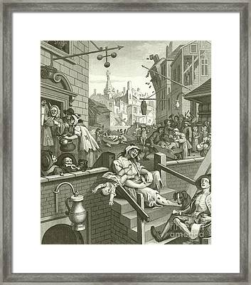 Beer Street And Gin Lane  Framed Print by William Hogarth