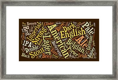 Beer Word Cloud Framed Print by Edward Fielding