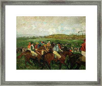 Before The Departure Framed Print by Edgar Degas