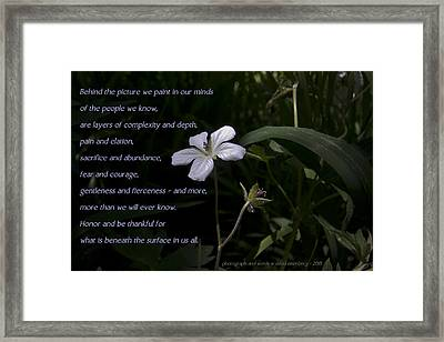 Behind The Picture Framed Print by David Eisenberg