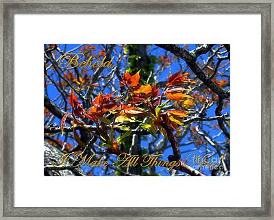 Behold I Make All Things New Framed Print by Dale   Ford