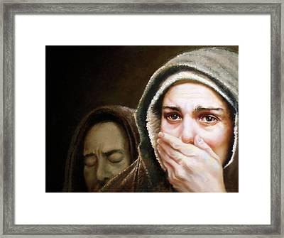 Behold Thy Son Framed Print by Lester Nielsen