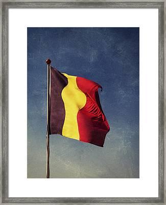 Belgian Flag Framed Print by Wim Lanclus
