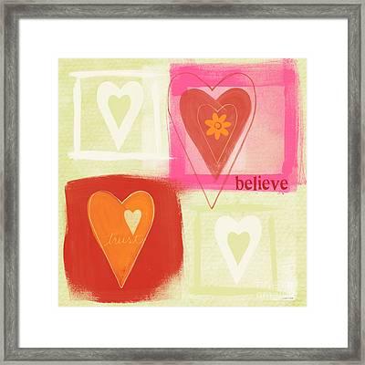 Believe In Love Framed Print by Linda Woods