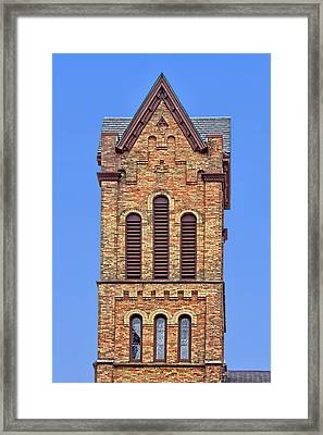 Bell Tower - First Congregational Church - Jackson - Michigan Framed Print by Nikolyn McDonald