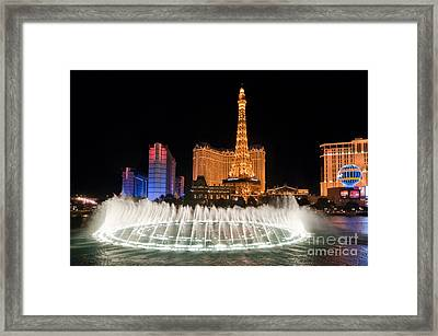 Bellagio Fountains Night 1 Framed Print by Andy Smy