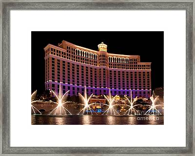 Bellagio Hotel And Casino Framed Print by Melody Watson