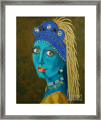 Belly Dancer With A Pearl Earring -- The Original -- Whimsical Redo Of Vermeer Painting Framed Print by Jayne Somogy