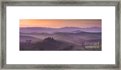 Belvedere And Tuscan Countryside Framed Print by Brian Jannsen