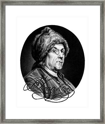 Ben Franklin Autographed Framed Print by John Feiser