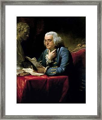 Ben Franklin Thumb Portrait 1767 Framed Print by Daniel Hagerman