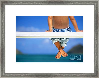 Bench By The Ocean Framed Print by Dana Edmunds - Printscapes