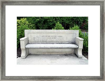 Bench Class Of 1927 Cornell University Ithaca New York Framed Print by Thomas Woolworth