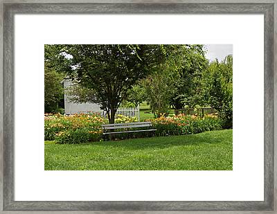 Bench In The Garden Framed Print by Sandy Keeton