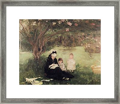 Beneath The Lilac At Maurecourt Framed Print by Berthe Morisot