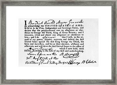 Benedict Arnolds Oath Of Allegiance Framed Print by Everett