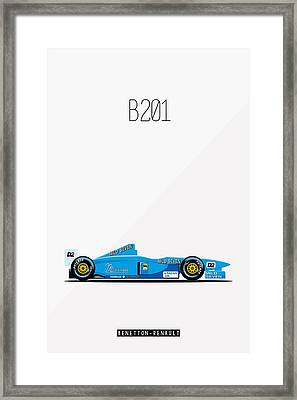 Benetton Renault B201 F1 Poster Framed Print by Beautify My Walls