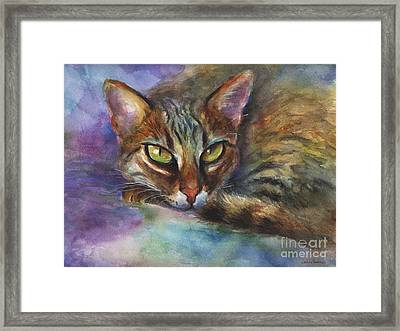 Bengal Cat Watercolor Art Painting Framed Print by Svetlana Novikova