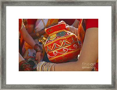 Bengali Maiden Dancers With Water Jars Framed Print by Charline Xia