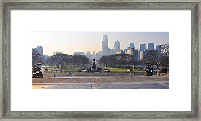 Benjamin Franklin Parkway In Panorama Framed Print by Bill Cannon