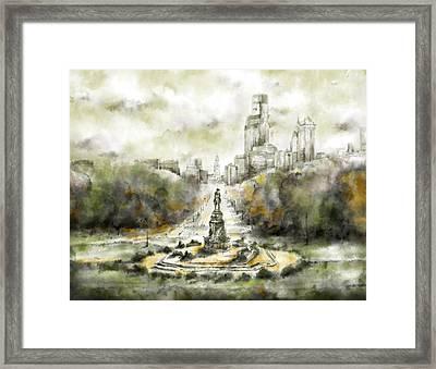Benjamin Franklin Parkway Sepia Framed Print by Bekim Art