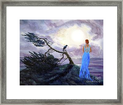 Bent Cypress And Blue Lady Framed Print by Laura Iverson