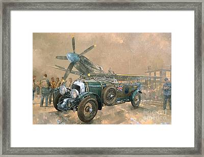 Bentley And Spitfire Framed Print by Peter Miller