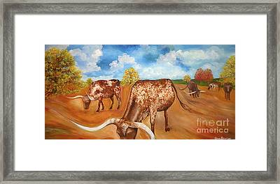 Benton Hwy 165 Longhorns  Framed Print by Rebecca Robinson