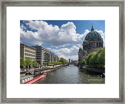 Berlin Cathedral Dom At River Spree  Framed Print by Frank Bach