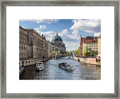 Berlin Cathedral Dom At River Spree From Nikolai Viertel Framed Print by Frank Bach