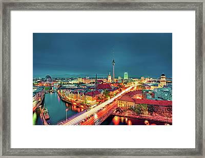 Berlin City At Night Framed Print by Matthias Haker Photography