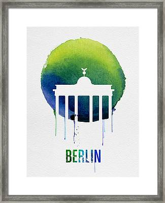 Berlin Landmark Blue Framed Print by Naxart Studio