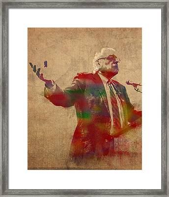 Bernie Sanders Watercolor Portrait Framed Print by Design Turnpike