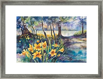 Beside The Lake Beneath The Trees. Framed Print by Kate Bedell