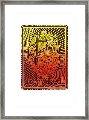 Bespoked Bicycle Linocut Framed Print by Mark Howard Jones