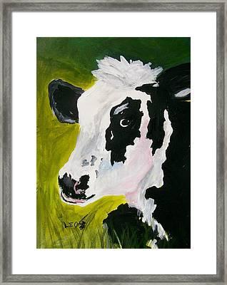 Bessy The Cow Framed Print by Leo Gordon
