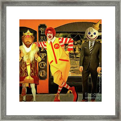 Besties Forever Ronald Jack And The King Gets Head Tattoos At The Parlor 20160625 Square V2 Framed Print by Wingsdomain Art and Photography