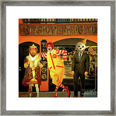 Besties Forever Ronald Jack And The King Gets Head Tattoos At The Parlor 20160625 Square Framed Print by Wingsdomain Art and Photography