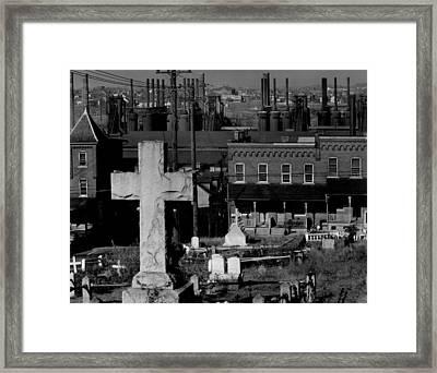 Bethlehem Graveyard And Steel Mill Framed Print by Everett