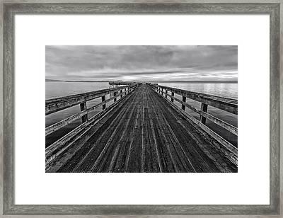 Bevan Fishing Pier - Black And White Framed Print by Mark Kiver