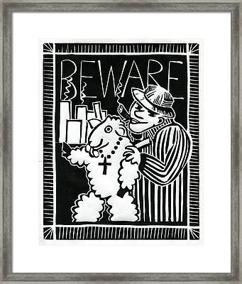 Beware Framed Print by Sheryl Karas