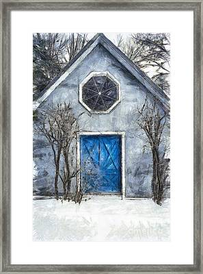 Beyond The Blue Door Pencil Framed Print by Edward Fielding